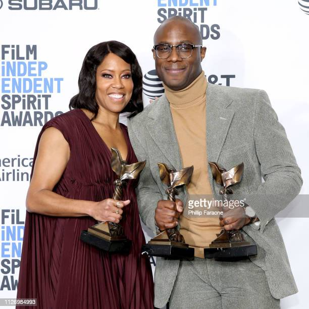 Regina King and Barry Jenkins pose in the press room with the Best Supporting Female Best Director and Best Feature awards for the film If Beale...
