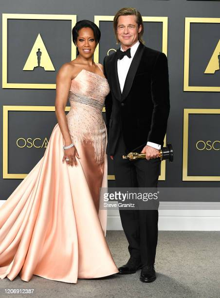 Regina King and Brad Pitt poses at the 92nd Annual Academy Awards at Hollywood and Highland on February 09 2020 in Hollywood California
