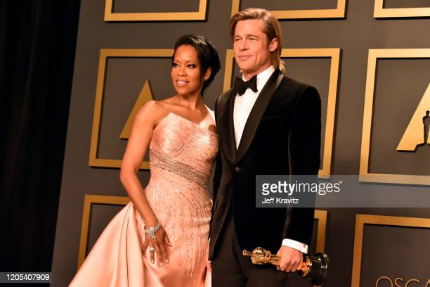 """Regina King and Brad Pitt winner of the Actor in a Supporting Role award for """"Once Upon a Time…in Hollywood"""" pose in the press room during the 92nd..."""