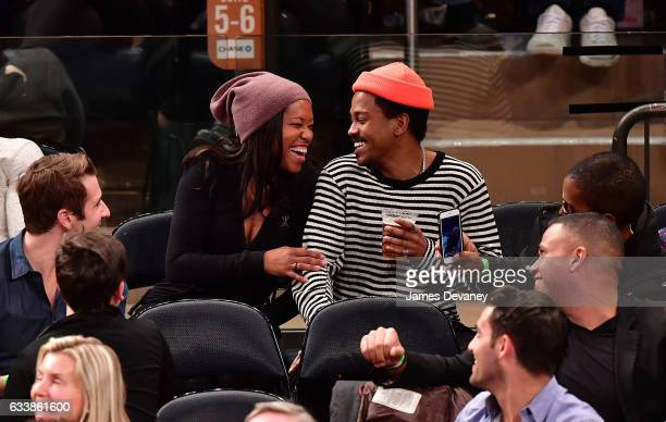 Regina King and Ian Alexander Jr attend Cleveland Cavaliers Vs New York Knicks game at Madison Square Garden on February 4 2017 in New York City
