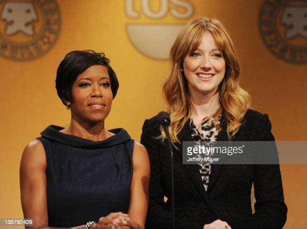 Regina King and Judy Greer pose onstage during The 18th Annual Screen Actors Guild Awards Nominations Announcement at the Silver Screen Theater at...
