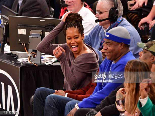 Regina King and Tracy Morgan attend Philadelphia 76ers v New York Knicks game at Madison Square Garden on February 13 2019 in New York City