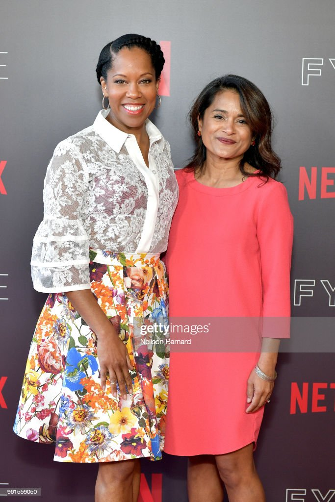 Regina King (L) and Veena Sud attend the 'Seven Seconds' panel at Netflix FYSEE on May 22, 2018 in Los Angeles, California.