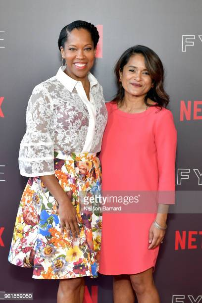 Regina King and Veena Sud attend the 'Seven Seconds' panel at Netflix FYSEE on May 22 2018 in Los Angeles California