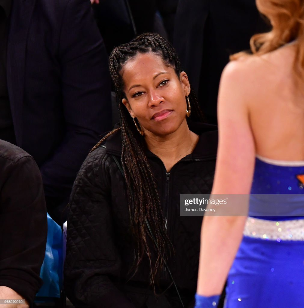 Regina King attends New York Knicks Vs Charlotte Hornets game at Madison Square Garden on March 17, 2018 in New York City.