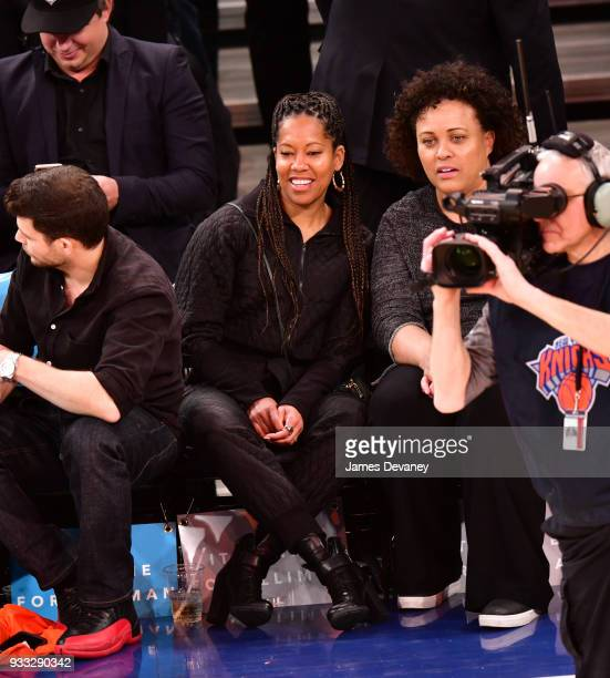 Regina King attends New York Knicks Vs Charlotte Hornets game at Madison Square Garden on March 17 2018 in New York City