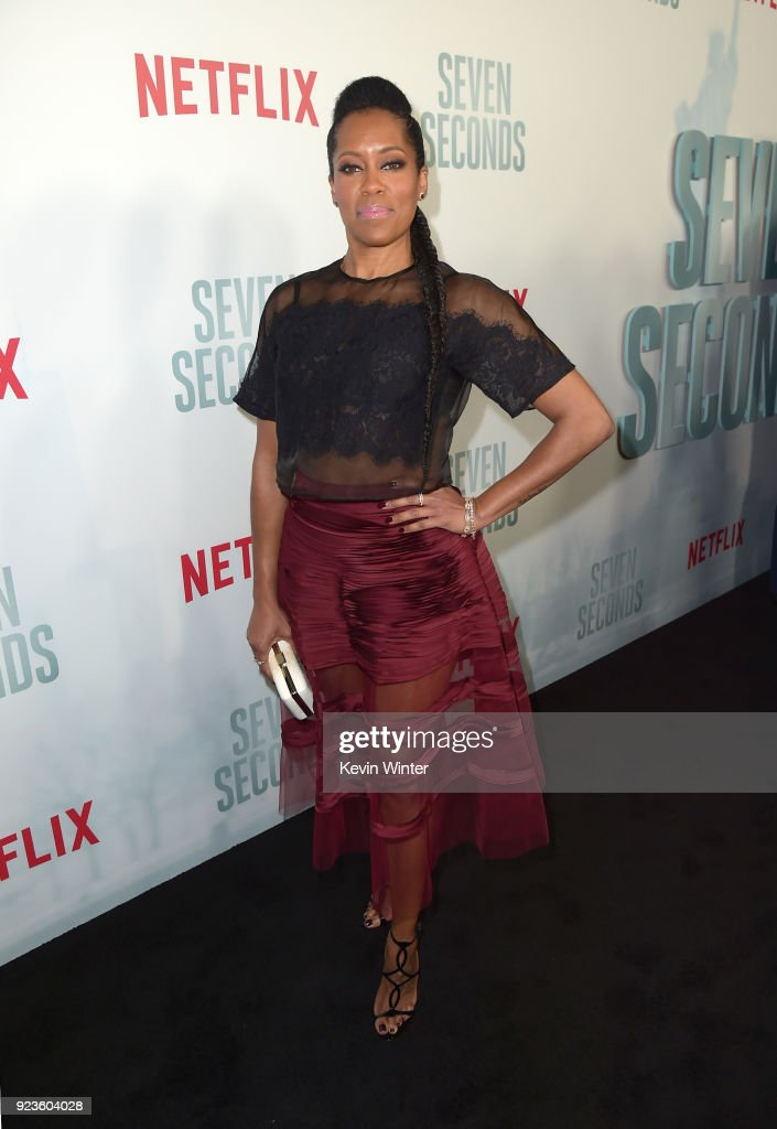Regina King attends the premiere of Netflix's 'Seven Seconds' at The Paley Center for Media on February 23, 2018 in Beverly Hills, California.