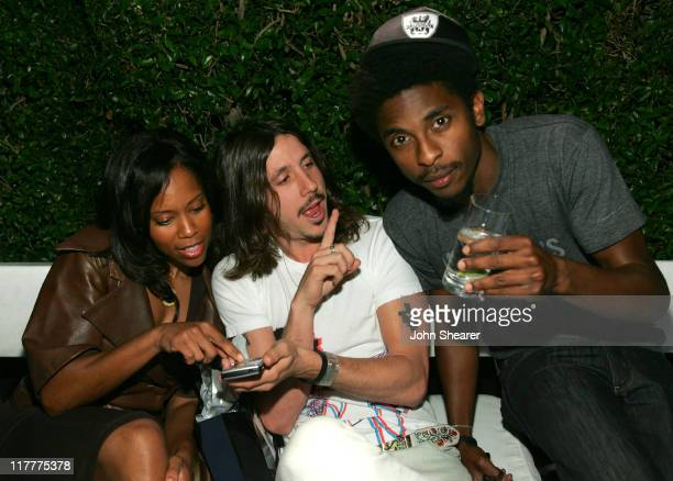 Regina King Cisco Adler and guest during BlackBerry Curve from ATT Launch Party Inside at Regent Beverly Wilshire in Beverly Hills California United...
