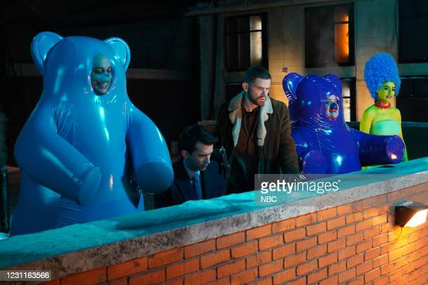 """Regina King"""" Episode 1797 -- Pictured: Pete Davidson as a gummy bear, Andrew Dismukes, Mikey Day, Aidy Bryant as a gummy bear, and Melissa Villaseñor..."""