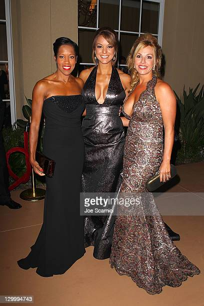 Regina King Eva La Rue and Renetta Caya arrive at Beckstrand Cancer Foundation's 8th Annual Diamond Pearl Ball at The Balboa Bay Club And Resort on...