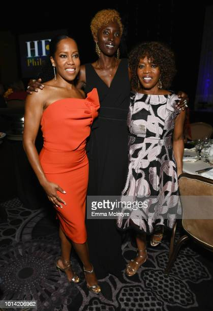 Regina King Khadija Neumann and Alfre Woodard attend the Hollywood Foreign Press Association's Grants Banquet at The Beverly Hilton Hotel on August 9...