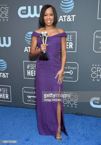 Regina King poses in the press room at The 24th Annual Critics' Choice Awards at Barker Hangar on January 13 2019 in Santa Monica California