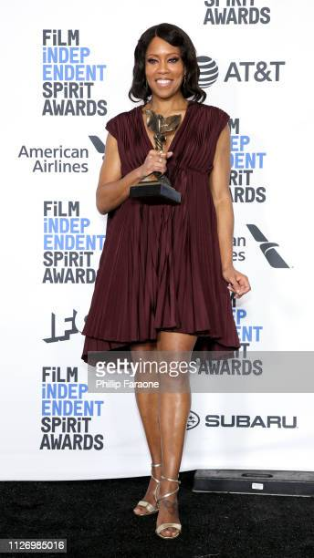 Regina King poses in the press room with the Best Supporting Female award for the film If Beale Street Could Talk during the 2019 Film Independent...