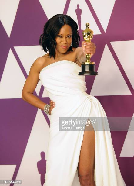 Regina King poses with her award for Best Supporting Actress inside the Press Room at the 91st Annual Academy Awards held at Hollywood and Highland...