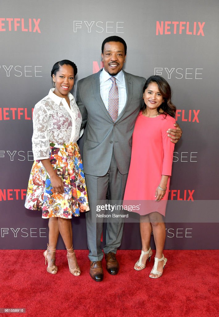 Regina King, Russell Hornsby, and Veena Sud attend the 'Seven Seconds' panel at Netflix FYSEE on May 22, 2018 in Los Angeles, California.
