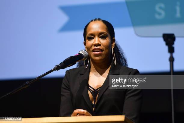 Regina King speaks onstage during the I Have A Dream Foundation Los Angeles hosts 6th annual Dreamer Dinner Benefit at Skirball Cultural Center on...