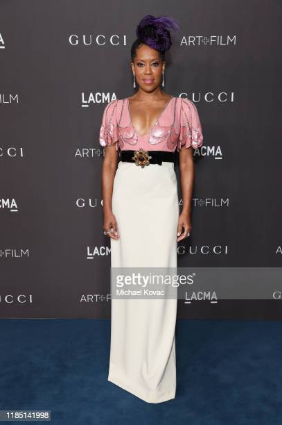 Regina King wearing Gucci attends the 2019 LACMA Art Film Gala Presented By Gucci at LACMA on November 02 2019 in Los Angeles California