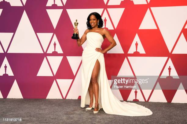 "Regina King winner of Best Supporting Actress for ""If Beale Street Could Talk"" poses in the press room during at Hollywood and Highland on February..."