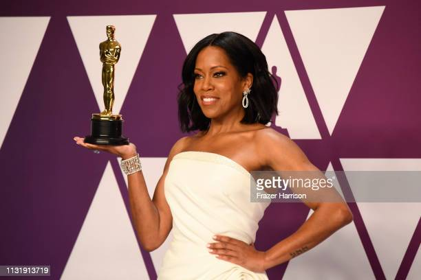 """Regina King winner of Best Supporting Actress for """"If Beale Street Could Talk"""" poses in the press room during at Hollywood and Highland on February..."""