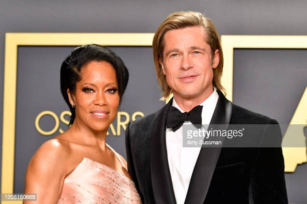 "Regina King with Brad Pitt winner of the Actor in a Supporting Role award for ""Once upon a Timein Hollywood"" poses in the press room during the 92nd..."