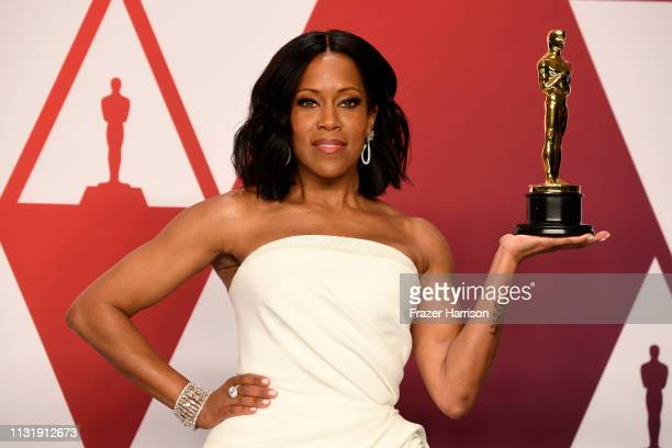 Regina King with the award for an actress in a supporting role for 'If Beale Street Could Talk' in the press room during at Hollywood and Highland on...