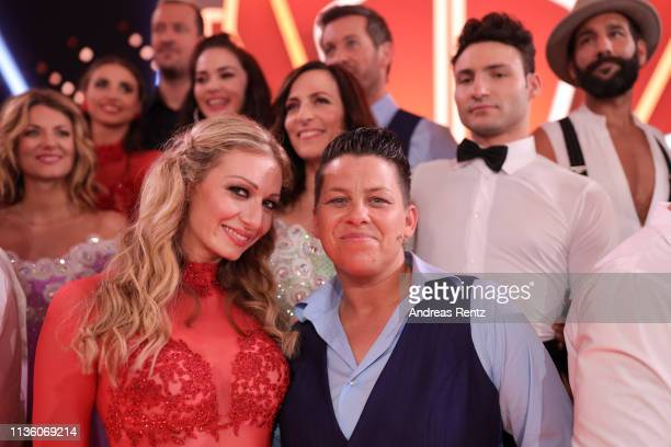 Regina Luca and Kerstin Ott pose for a photograph during the preshow Wer tanzt mit wem Die grosse Kennenlernshow of the television competition Let's...