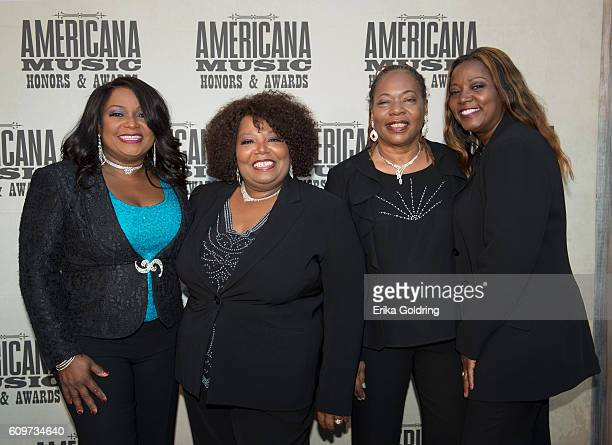 Regina Ann Deborah and Alfreda McCrary of The McCrary Sisters attend the 2016 Americana Music Honors and Awards Show at Ryman Auditorium on September...
