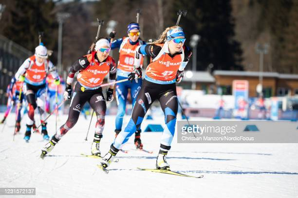 Regina Oja of Estonia competes during the Women 10km Pursuit Competition at the BMW IBU World Cup Biathlon Nove Mesto na Morave on March 7, 2021 in...