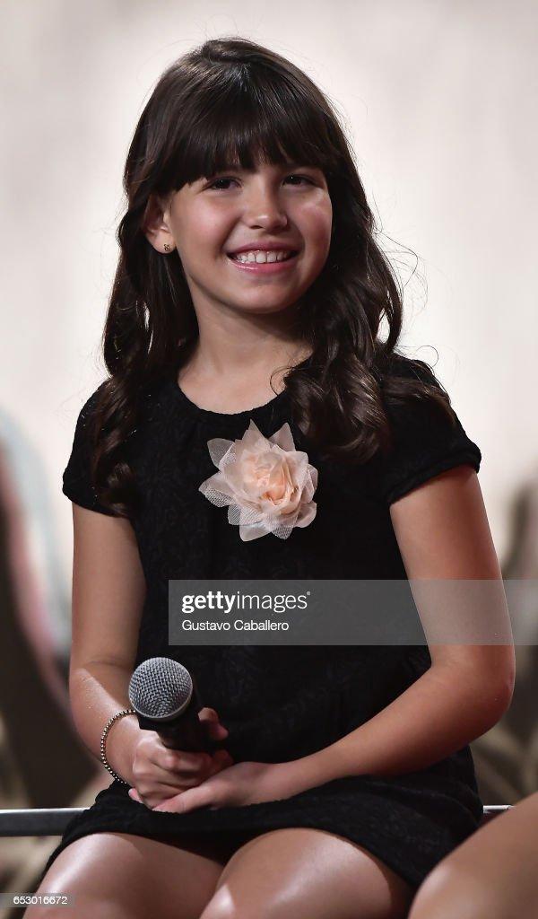 Regina Orquin is seen at the introduction of the cast of 'Jenni Rivera: Mariposa de Barrio' at Telemundo Studios on March 13, 2017 in Miami, Florida.