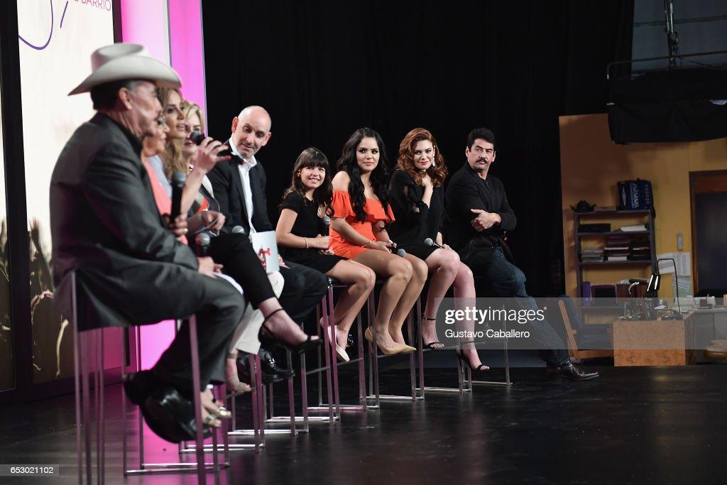Regina Orquin, Samadhi Zendejas, Angelica Celaya and Gabriel Porras are seen at the introduction of the cast of 'Jenni Rivera: Mariposa de Barrio' at Telemundo Studios on March 13, 2017 in Miami, Florida.