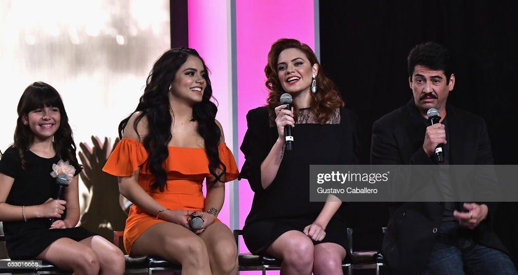Regina Orquin,Samadhi Zendejas,Angelica Celaya and Gabriel Porras are seen at the introduction of the cast of 'Jenni Rivera: Mariposa de Barrio' at Telemundo Studios on March 13, 2017 in Miami, Florida.