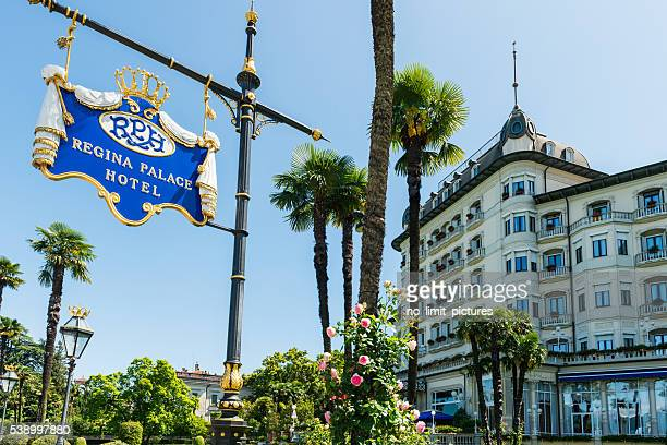regina palace hotel at lake maggiore in italy - stresa stock pictures, royalty-free photos & images