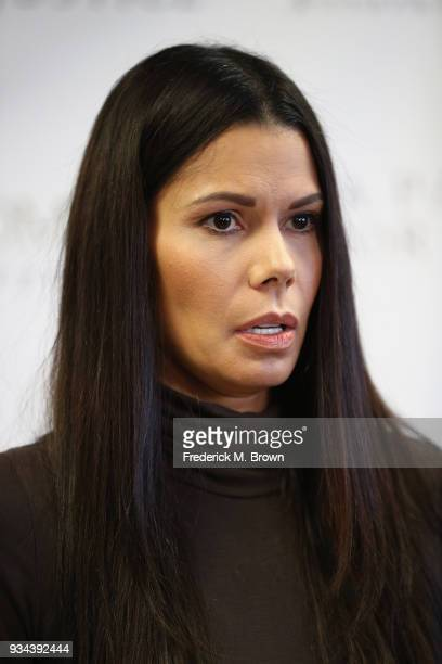 Regina Simons speaks during a press conference with Faviola Dadis and their attorney Lisa Bloom Dadis and Simons are accusing actor Steven Seagal of...