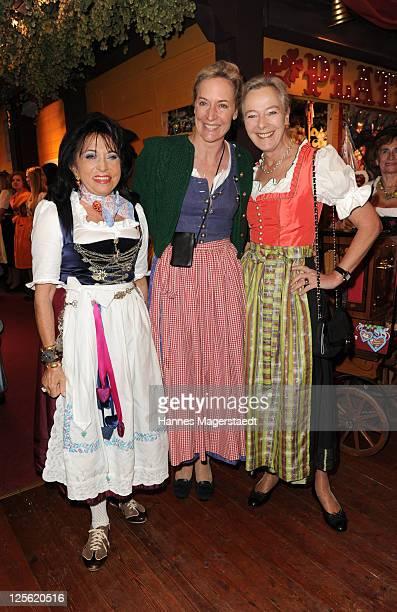 Regina Sixt Leslie von Wangenheim and Prncess Uschi zu Hohenlohe attend the 'Sixt Damenwiesn' as part of the Oktoberfest beer festival at Hippodrom...