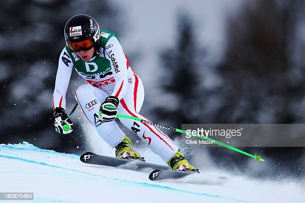 Regina Sterz of Austria skis in the Women's Downhill Training during the Alpine FIS Ski World Championships on February 7 2013 in Schladming Austria