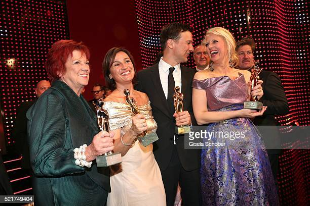 Regina Ziegler Sandra Maischberger Florian David Fitz and Barbara Schoeneberger pose with their awards during the 27th ROMY Award 2015 at Hofburg...