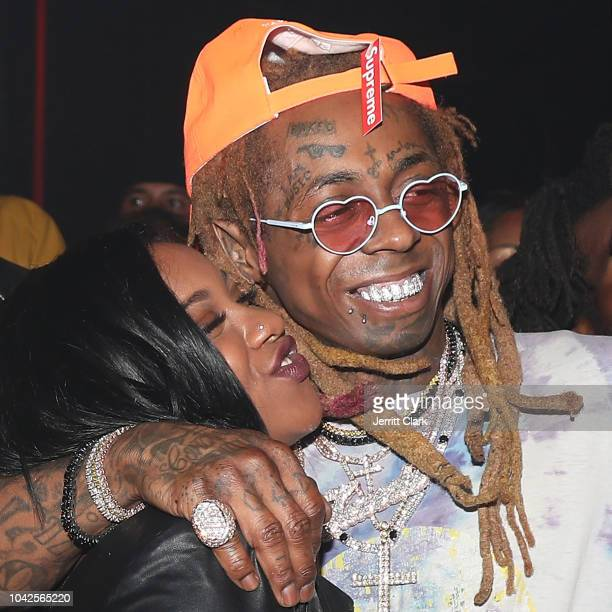 Retransmission with alternate crop LOS ANGELES CA SEPTEMBER 28 Reginae Carter and Lil Wayne attend Lil Wayne's 36th birthday party and Carter V...