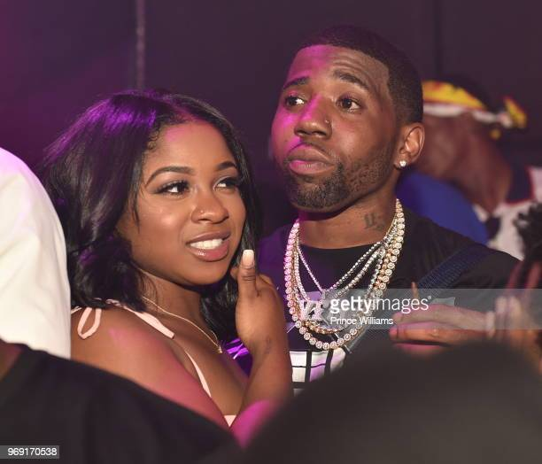 Reginae Carter and YFN Lucci attend a Birthday Celebration for Pierre 'Pee' Thomas at Gold Room on June 7 2018 in Atlanta Georgia