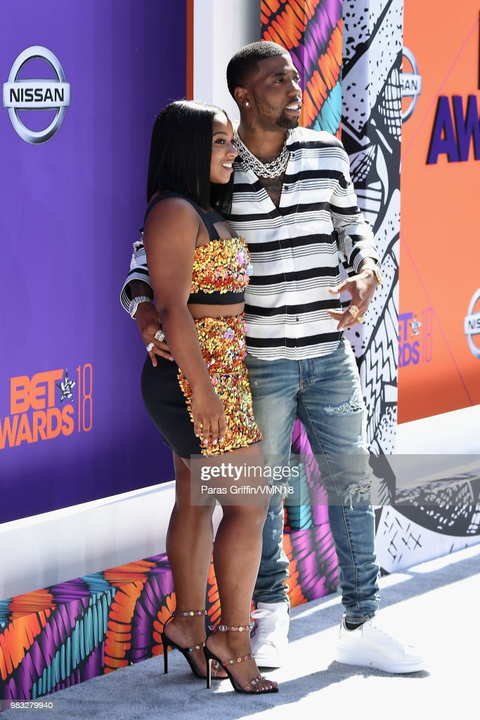 Reginae Carter and YFN Lucci attend the 2018 BET Awards at