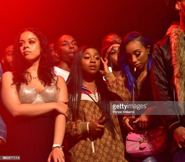 Reginae Carter and Zonnique Pullins attend YFN Lucci In Concert at Center Stage on May 17 2018 in Atlanta Georgia