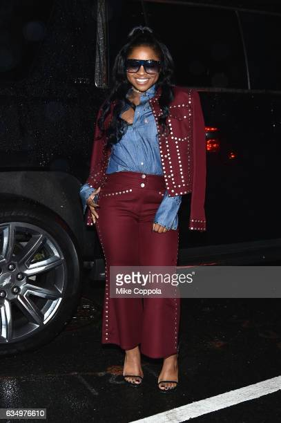 Reginae Carter arrives for the Prabal Gurung fashion show during New York Fashion Week The Shows on February 12 2017 in New York City