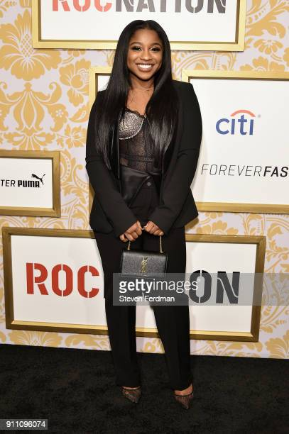 Reginae Carter attends the 2018 Roc Nation PreGrammy Brunch at One World Trade Center on January 27 2018 in New York City