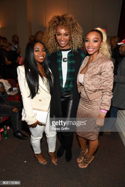 Reginae Carter Cynthia Bailey and Zonnique Pullins attend Growing Up Hip Hop Atlanta season 2 premiere party at Woodruff Arts Center on January 9...