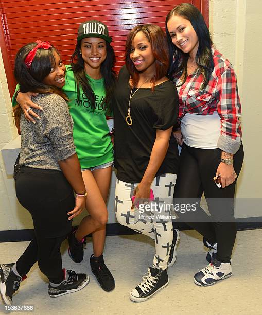 Reginae Carter Karrueche Tran Antonia Wright and Sarah Vivan attend the celebrity basketball game at Morehouse College Forbes Arena on September 30...