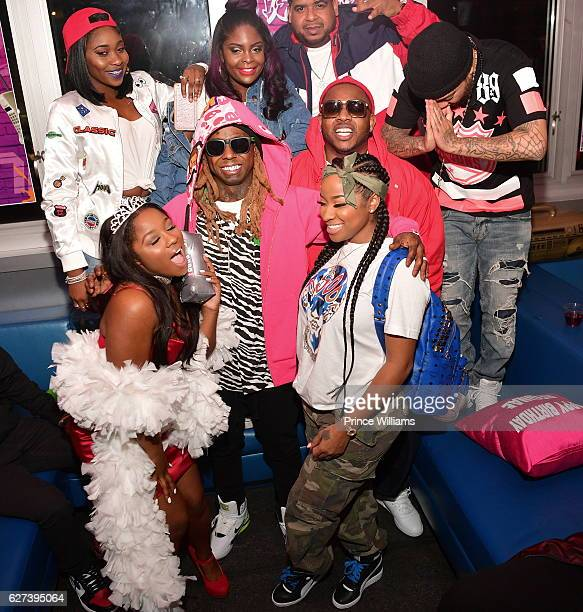 Reginae Carter Lil Wayne Mack Mane and Antonia 'Toya' Wright attend Reginae Carters Birthday Party at Suite Lounge on December 2 2016 in Atlanta...