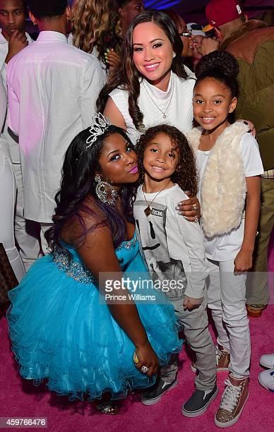Reginae Carter Sarah Vivan Dwayne Carter III and Essence Vivan attend Reginae's All White Sweet 16 birthday party at Summerour Studio on November 29...