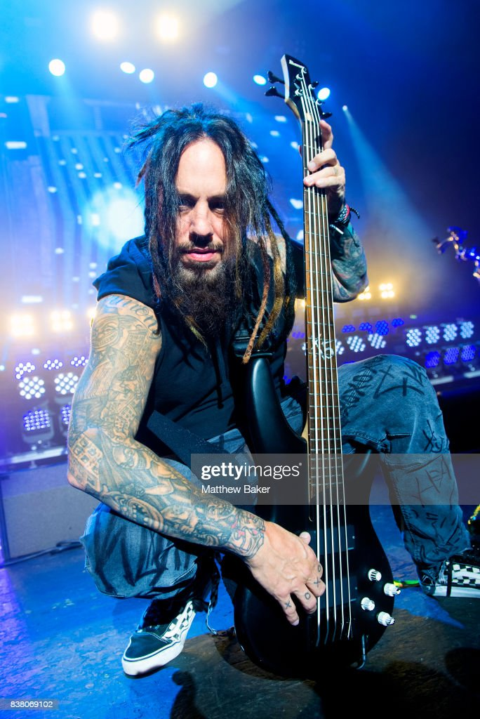 Reginald Arvizu of Korn performs at Brixton Academy on August 23, 2017 in London, England.