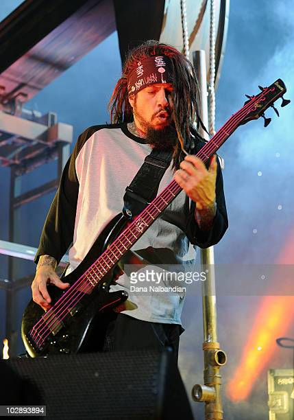 Reginald Arvizu of Korn performs during the Mayhem Festival at White River Amphitheater on July 13 2010 in Enumclaw Washington