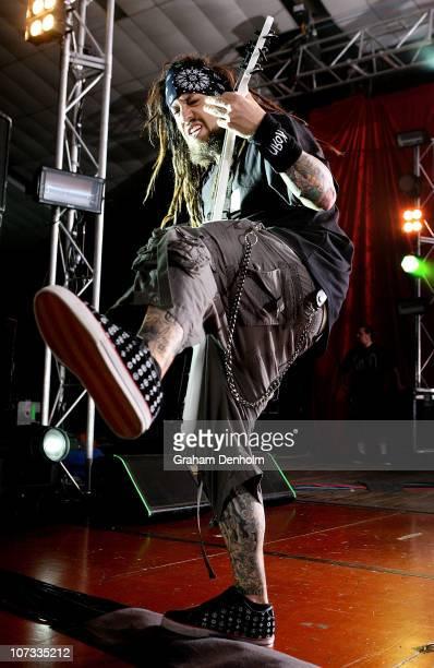 Reginald 'Fieldy' Arvizu of Korn performs on stage at Festival Hall on December 5 2010 in Melbourne Australia