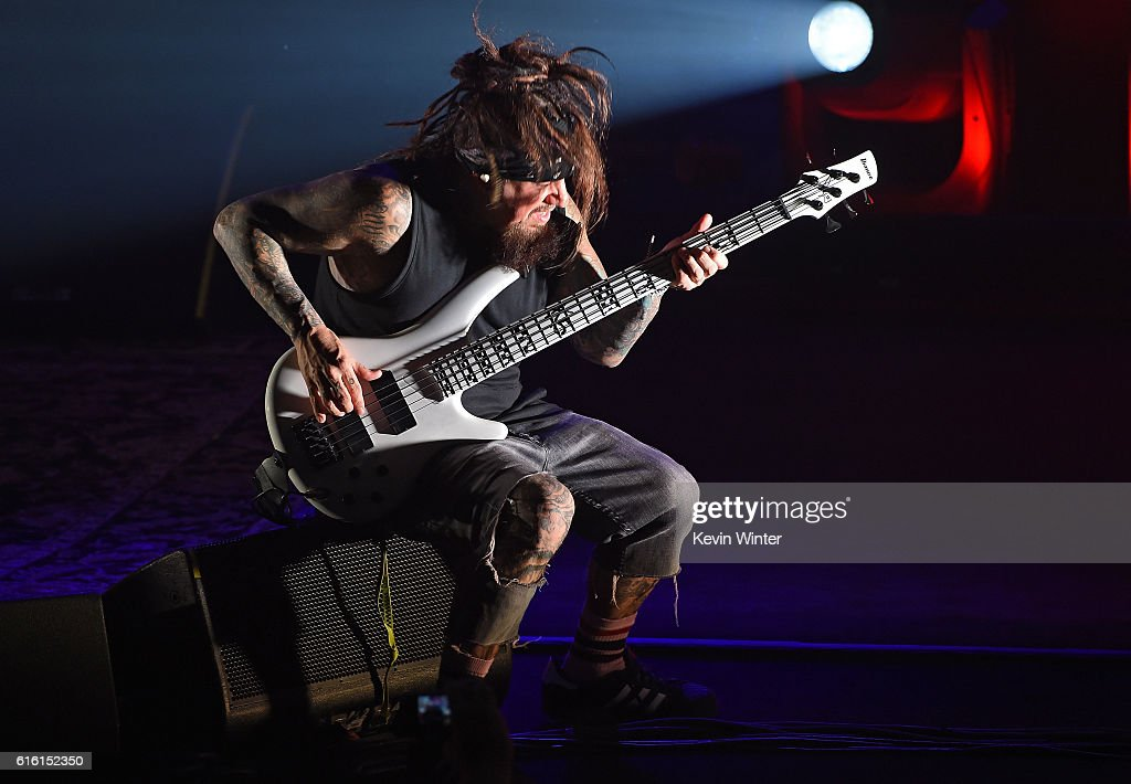 Reginald 'Fieldy' Arvizu of Korn performs onstage at a private concert for SiriusXM at The Theatre at Ace Hotel on October 21, 2016 in Los Angeles, California. The performance airs live on SiriusXM's Octane Channel.